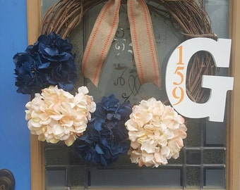 Monogrammed hydrangea wreath with hours numbers