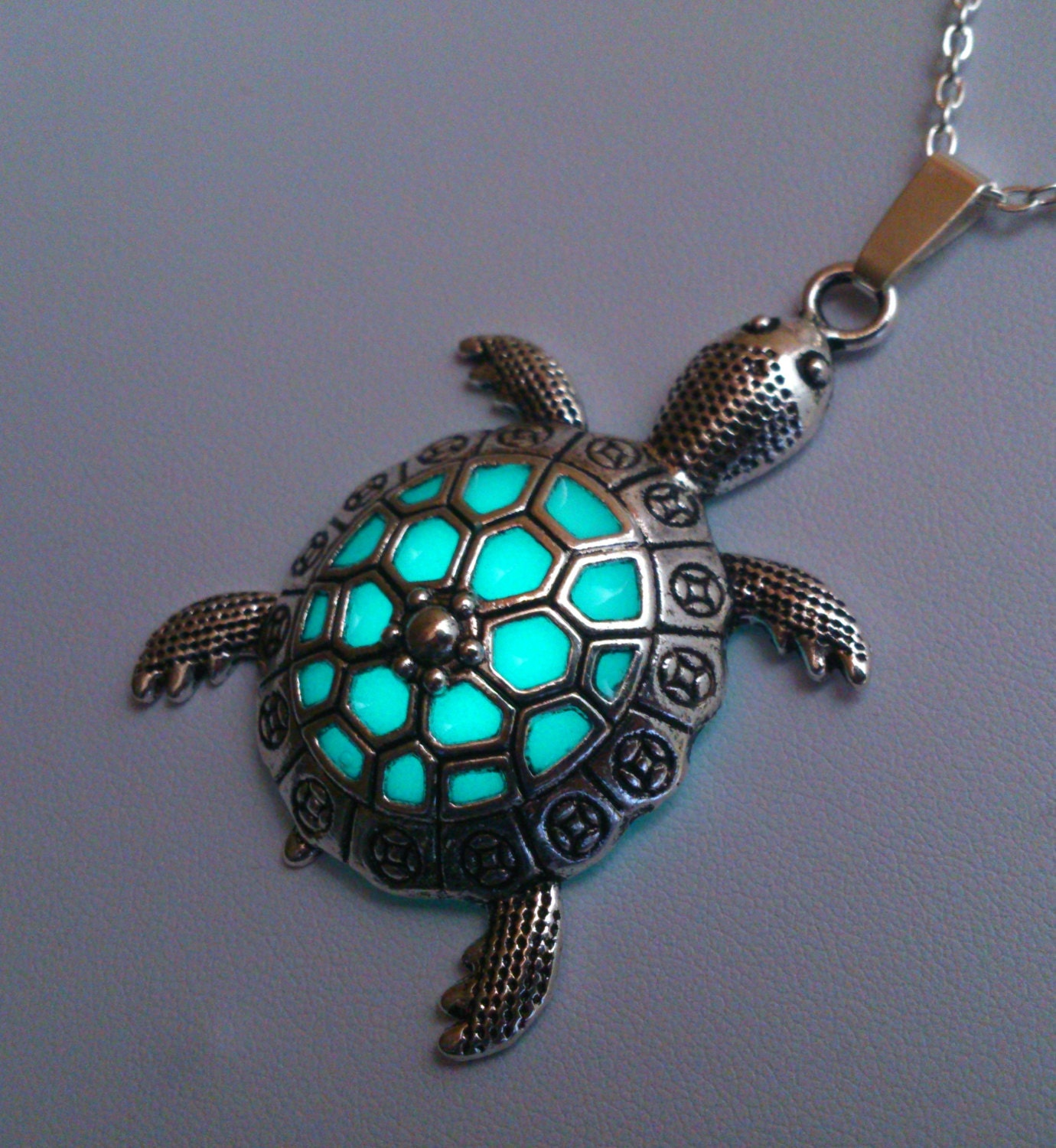 Charm Bracelet Jewelry: Sea Turtle Necklace Turtle Jewelry Sea Turtle Glowing