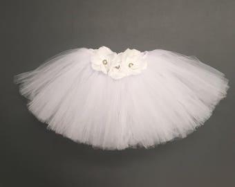 Girls White tutu, Infant white tutu, Toddler White tutu, Flower tutu,