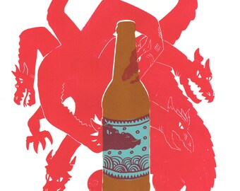 Beastly Beer Silkscreen Print / Dragon Beer