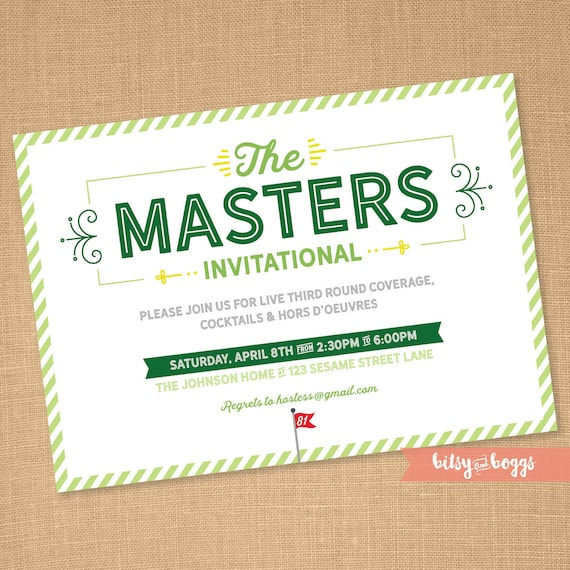 Masters Party Invite The Masters Golf Party Golf