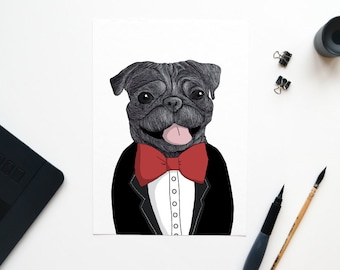 Chic Pug map with red bow A6