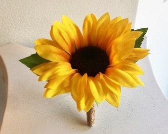 Sunflower Boutonnière, Silk Sunflower Boutonnière, Grooms Boutonnière, Sunflower Bouquet, Sunflower Groomsmen Boutonnière, Sunflower Bridal
