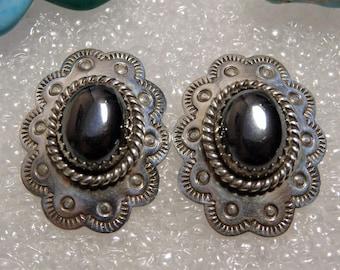 Vintage Pueblo Style HEMATITE Stamped STERLING Silver Post EARRINGS