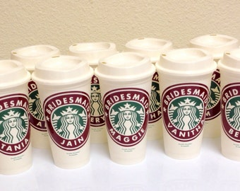 Maid of Honor Starbucks Cup - Matron of Honor Gift - Bridesmaids Starbucks Cup - Personalized Starbucks Cup  - Bridesmaids Proposal Gift