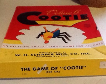 Vintage 1940's Cootie game, Deluxe 6, USA made, W. H. Schaper MFG, young child's game