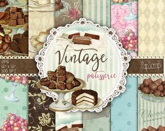 """Patisserie digital paper: """"Vintage Patisserie"""" chocolate digital paper, sweets, bakery patterns, vintage digital paper, kitchen cards"""