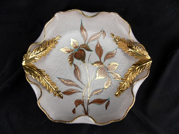 Vintage Pottery Bowl Decorative Made In Italy Paul's Flowers with Gold leaf Handles