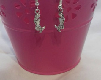 Mermaid Drop Earrings, Silver Plated Dangle Earrings, The Little Mermaid Inspired, Under the Sea Themed, Jewellery For Her, Fashion Jewelry