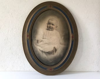 Antique Picture Frame with a Cute Baby Photograph, Art Deco Wooden Frame