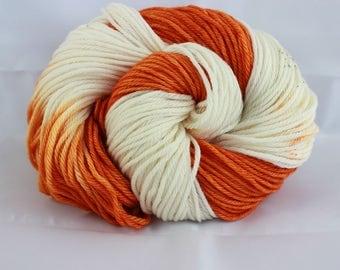 NQP:Hand dyed yarn, orange / cream / brown yarn, speckled yarn, superwash wool, worsted weight,  100g