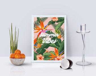 Summer Vibes Print - Home Decor - Hippie Art Print -  Art Print - Esoteric Print- Spiritual Print- Supernatural