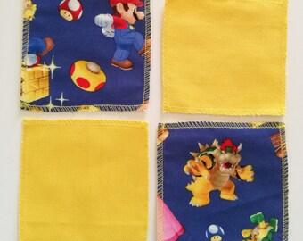 Yellow cotton Super Mario themed coasters