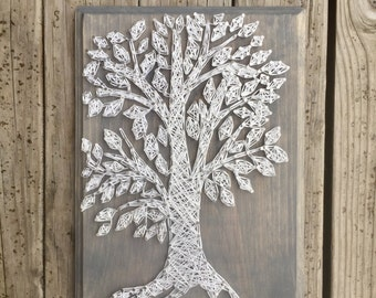 String art tree etsy wood tree sign string art rustic tree sign farmhouse tree sign tree prinsesfo Images