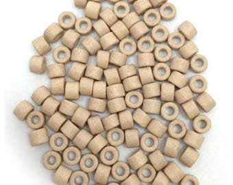 100 ceramic cylinder, 6mm, 100 pieces, ceramic beads, Dove, dove grey beads, 6 mm beads, greek ceramic beads, ceramic tube beads, beads