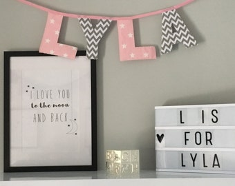 Personalised Girls Pink And Grey Name Bunting
