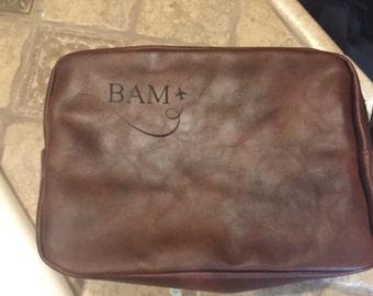Personalized Shaving Bag,Vegan Leather Shaving Bag, Laser Engraved Shaving bag, Personalized Shaving bag, Fathers Day Gift, Groomsman Gift