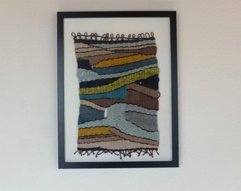 Graphic, one of a kind, colorful, handmade, framed, weave, wall hanging, tapestry.