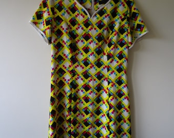 Bright Vintage patterned mini dress Rave mod 1990's