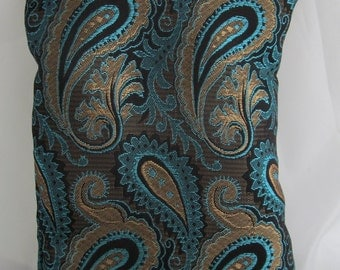 Brocade Tarot Card Bag Brown and Teal Paisley with Teal Satin Lining and Zipper Dice Makeup Pouch Fancy