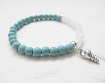 Shell bracelet, beach bracelet, turquoise bracelet, boho bracelet