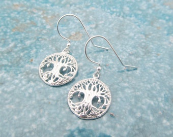 Tree earrings, sterling silver earrings, tree of life earrings, yoga earrings