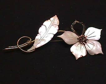 Vintage Sterling Silver Flower Brooch with Real Ettched Mother of Pearl Pieces as-is