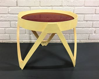 1970's  Groovy Side Table with Red Inlay Top