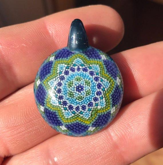 Glass implosion mandala pendant