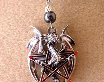 great dragon Pentagram hematite necklace