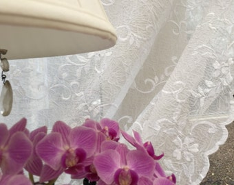 JASMIN Embroidered sheer lace curtain panel (net voile) with pretty floral design in soft white