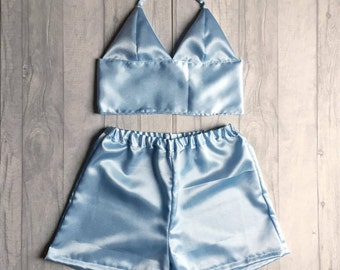Handmade satin bralet and high waisted shorts two piece / co ord. UK sizes 4-18 (US 0-14) Other colours available.
