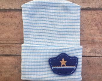 Boy Hospital hat - Police hospital hat - Police son hat - Police Officer Boy hat - hospital beanie - police baby - newborn hospital hat