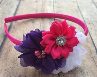 Dark Pink Headband - Pink hard Headband - Headband - Toddler Headband - Flower girl headband - headband - Pink flower - Pink flower headband