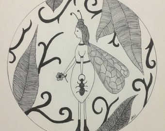 Ant Fairy Wall Art Print of Original Ink Drawing - Limited Edition Signed Illustration Resting Faerie
