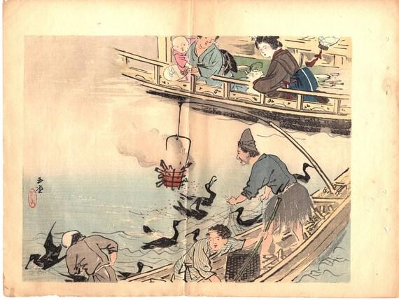 1913, Japanese antique woodcut print, Kawai Gyokudo.