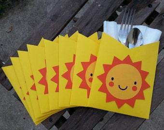 Cute Sunshine Napkin Holders ~ Yellow and Orange Table Decor ~ Sun Silverware Holders ~ Cute Baby Shower Decor ~ Tablescape ~ First Birthday