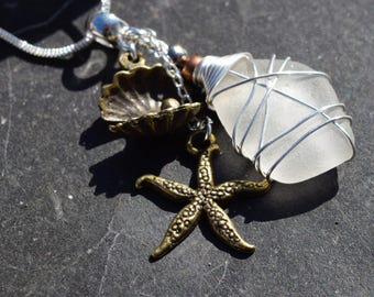 Seaglass and mixed metal beach charm necklace