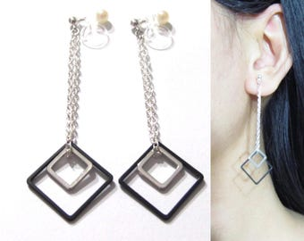 Invisible clip-ons Earrings |21i| Square Modern Trendy Geometric Dangle Clip on earrings Silver Chain Clip on Earrings Clipon Dangle Earring