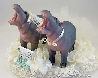 Hippo Bride | Hippo Groom | Hippo Wedding Cake Topper | Hippo Anniversary Cake Topper | Customized