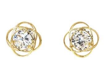Exquisite flower crystal earrings