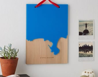 Coastline wooden and acrylic wall hanging|map|favourite place|beach|gift
