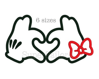 Mouse heart applique design, Minnie and Mickey heart applique, Minni applique design