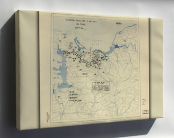 Canvas 24x36; July 4, 1944 Battle Of Normandy Map