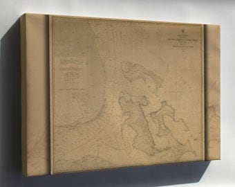 Canvas 24x36; Map Of Mosquito Inlet To Key West 1863