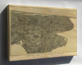 Canvas 16x24; Birdseye View Map Of Brooklyn New York City 1897