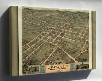 Canvas 16x24; Birdseye View Map Of Huntsville Alabama 1871