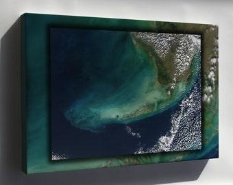 Canvas 16x24; Florida Keys Landsat