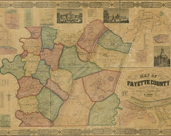 16x24 Poster; Map Of Fayette Co., Pennsylvania 1858 P2