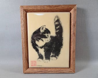 Framed Porcelain or Ceramic Cat Tile signed S Keane